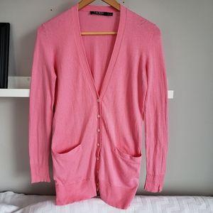 Ralph Lauren Pink Fine Knit Cardigan Sweater XS